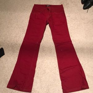 Red wide leg trouser jeans